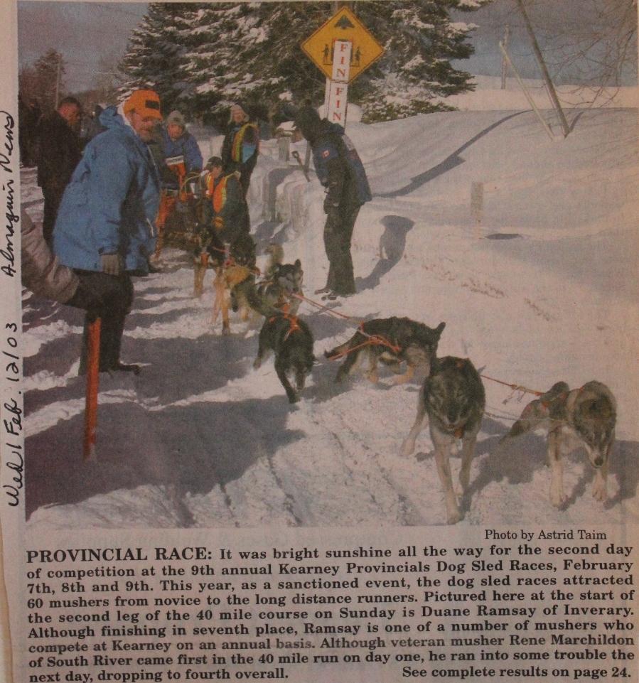 Kearney Dog Sled Races Newspaper Clips